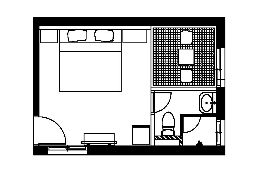 (西門淺草)榻榻米雙人房平面圖