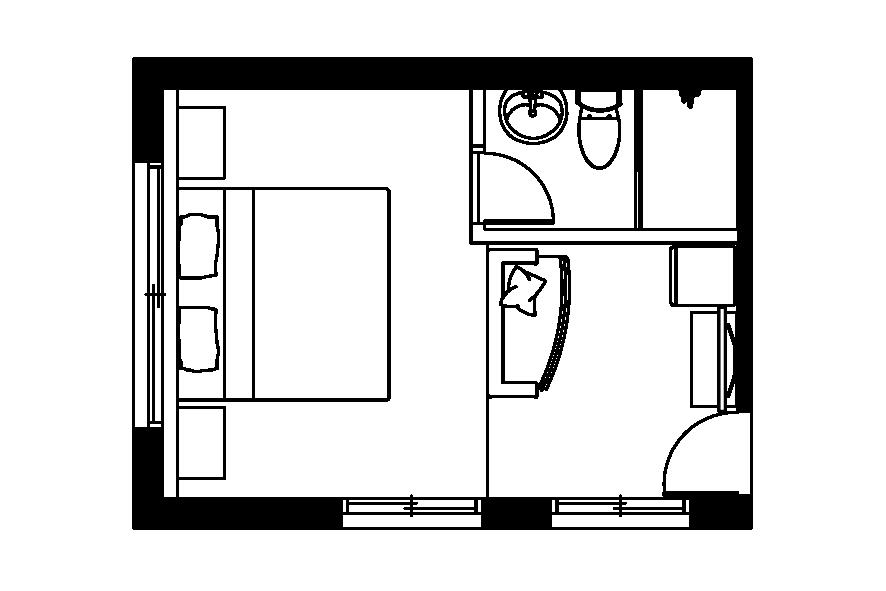 (西門淺草)二樓雙人房平面圖