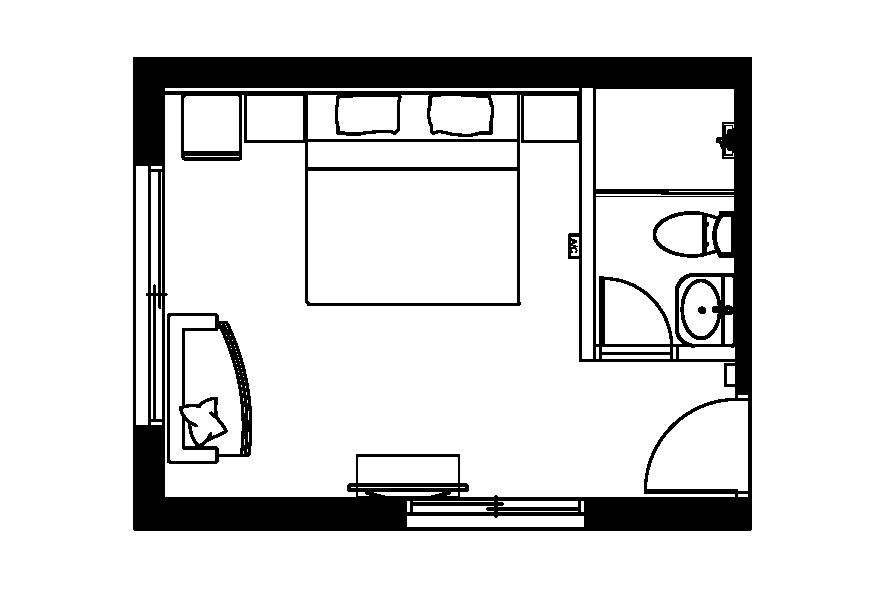 (西門淺草)三樓雙人房平面圖