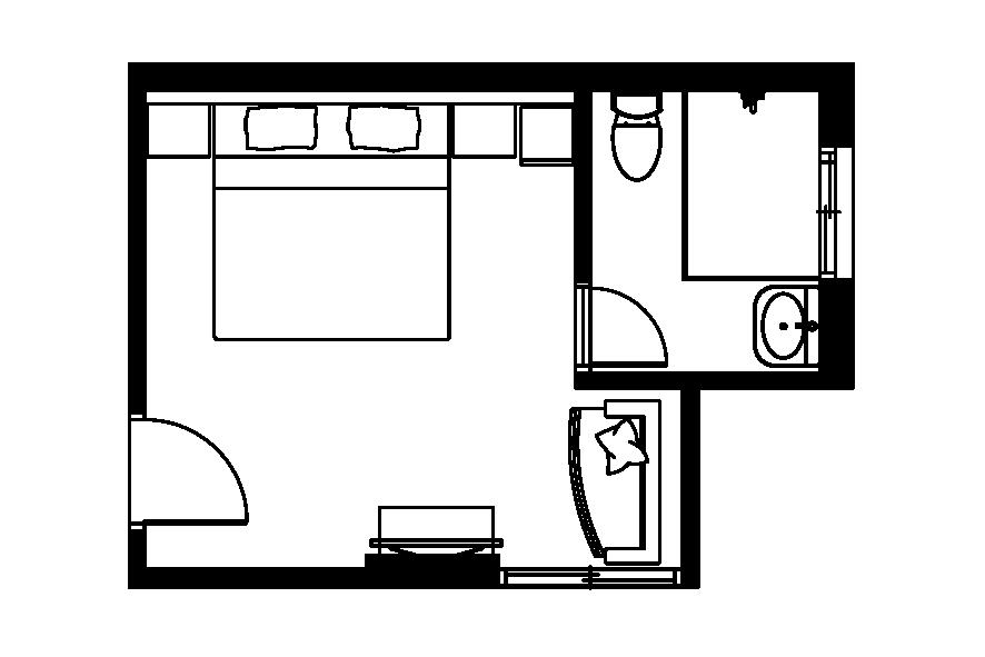 (西門淺草)四樓雙人房平面圖