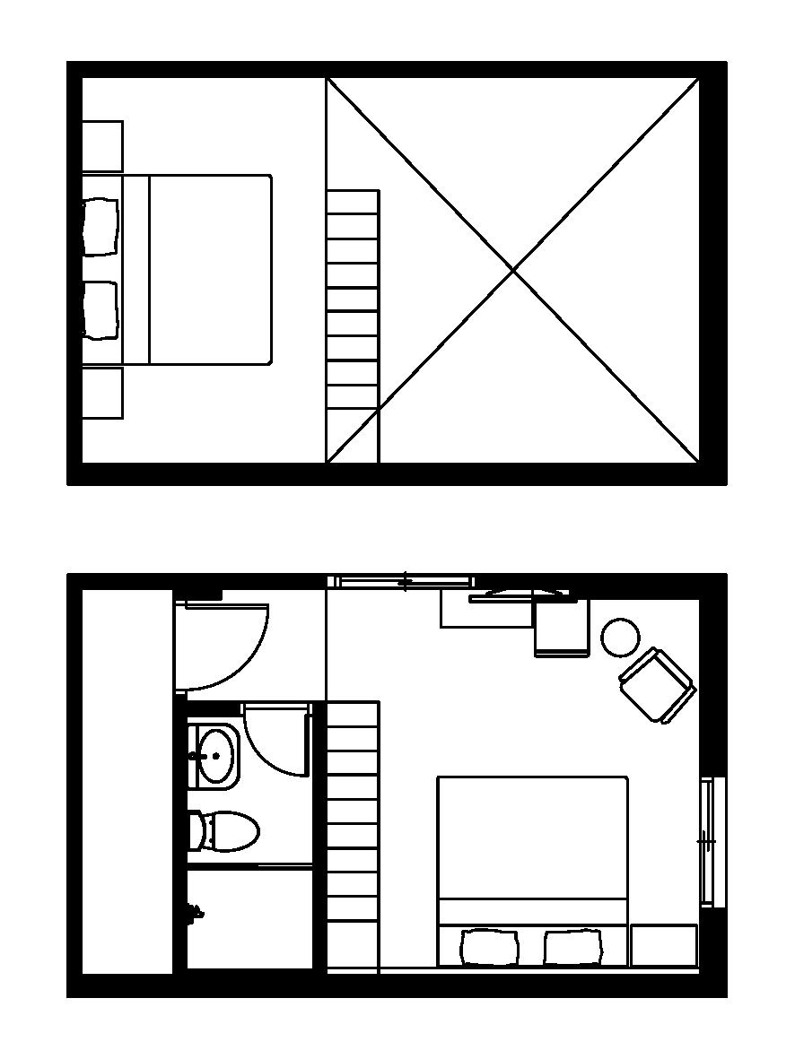 (西門淺草)閣樓四人大床套房平面圖