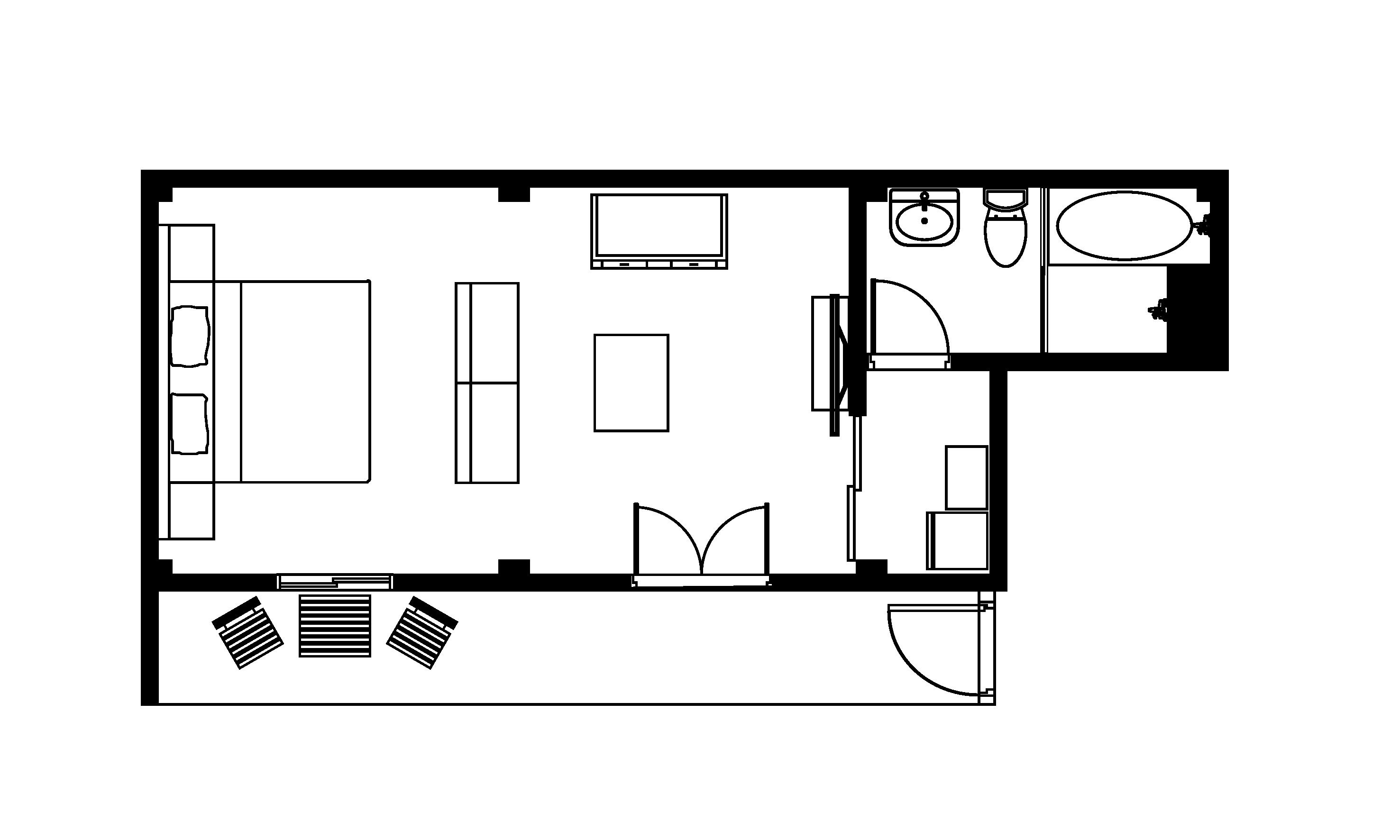 (新館) 豪華四人房平面圖
